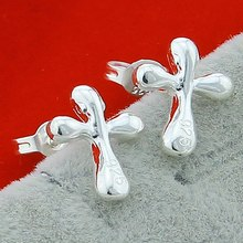 Wholesale Fashion Lightning Water Drop Cross Women Earring Real 925 Sterling Silver High Quality Jewelry for Party