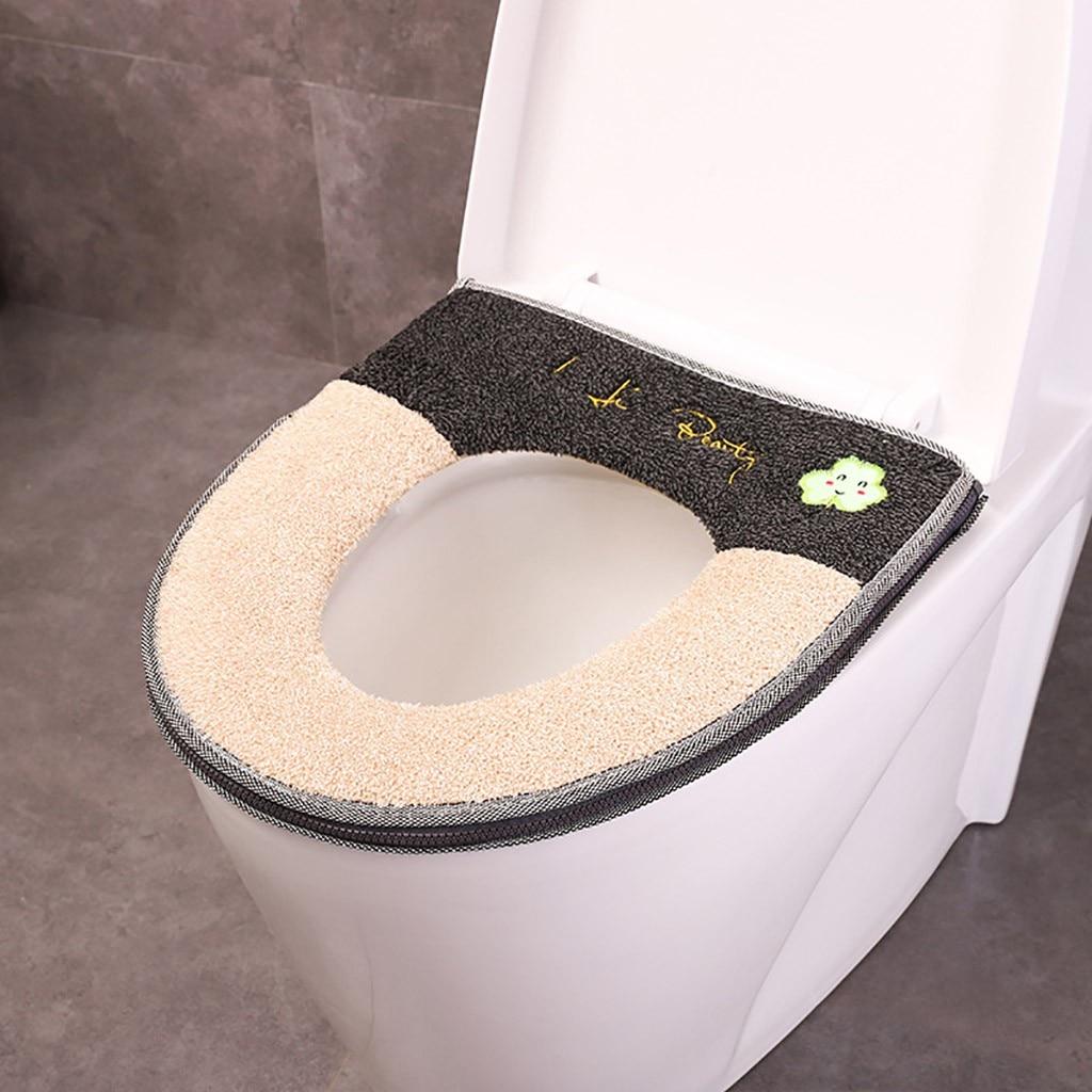 Household Winter Plush Soft Toilet Seat Closestool Pad Cover Toilet Seat Zipper