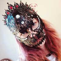 1/2 pcs Del Diamante di Scheletro Hollow Mask Freddo Costume Del Partito di Promenade Sexy Pieno Viso Scava Fuori di Travestimento Maschera di Teschio Per Le Donne e Gli Uomini
