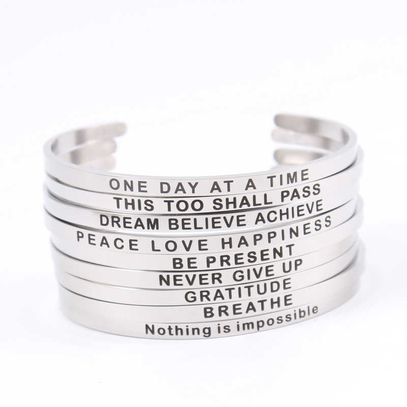 Newest Mantra Bracelet Custom Inspirational Bangles,Stamped Run WARRIOR NEVER GIVE UP 4MM Bar Stainlless Steel Bangle Open Cuff