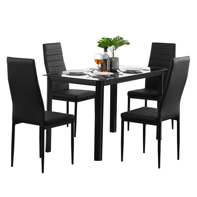 Dining Table w/ 4  High Backrest Chairs 6