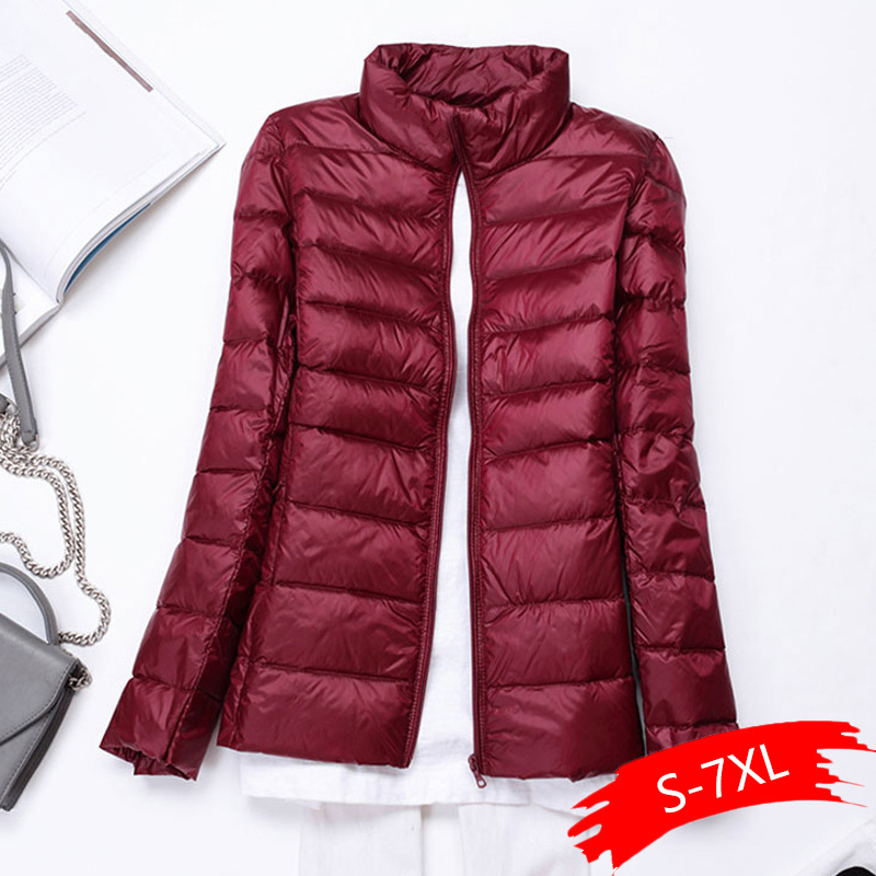 Plus Size 5XL 6XL 7XL Winter Warm   parkas   Women Autumn Outwear White cotton Coat Long Sleeve Slim Female lightweight Ultra   parka