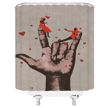 Waterproof Fabric Love lovers Shower Curtains Bathroom Large 240X180 3D Printing Retro Cowboy Decor Shower Curtain Bath Screen image
