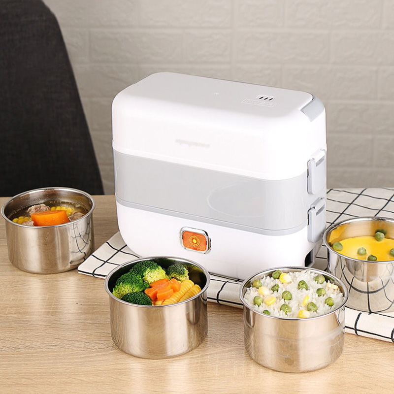 Acier inoxydable électrique boîte à déjeuner chauffage thermique alimentaire vapeur cuisson conteneur Portable bureau Mini cuiseur à riz 220V 2L grand