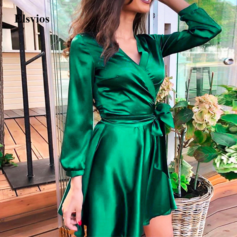 Women Sexy V-Neck Wrap Mini Dress Solid Autumn Long Sleeve Lace-Up Party Dress Spring Elegant Bandage A-Line Dress Vestido Mujer