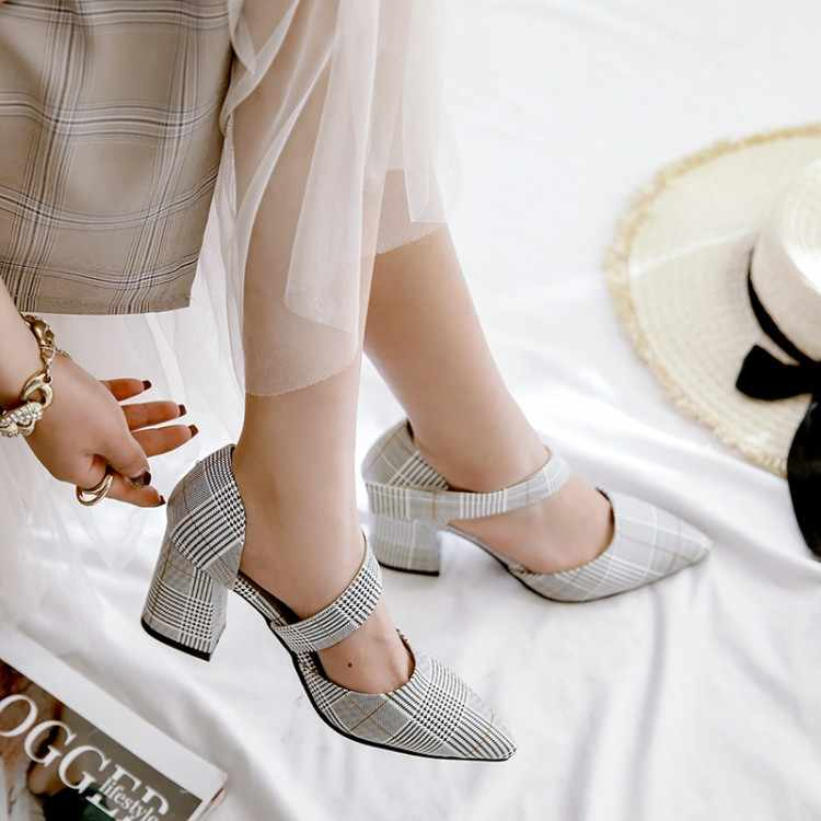Plus Kích Thước 12 13 14 15 Cao Gót Nữ Giày Nữ Người Phụ Nữ Mùa Hè Nữ Nhọn Dẹt Cingulate Dày Với giày Xăng Đan