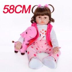 Boneca bebe reborn de menina 58cm 3/4 DOLLMAI Não-tóxico silicone renascer bebê boneca artesanal boneca brinquedos do bebê para presente de Natal das crianças