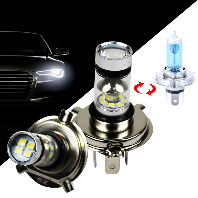 1PCS LED Cars Fog Ligth 100W 1000LM H 4 H 7 12-24V 6500k White Auto Light Bulb Replace Halogen Lamp 360 Angle Beam