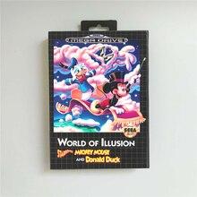 Monde de lillusion mettant en vedette Mickey Mouse et Donald canard EUR couverture avec boîte 16 bits MD carte de jeu pour Console Megadrive Genesis