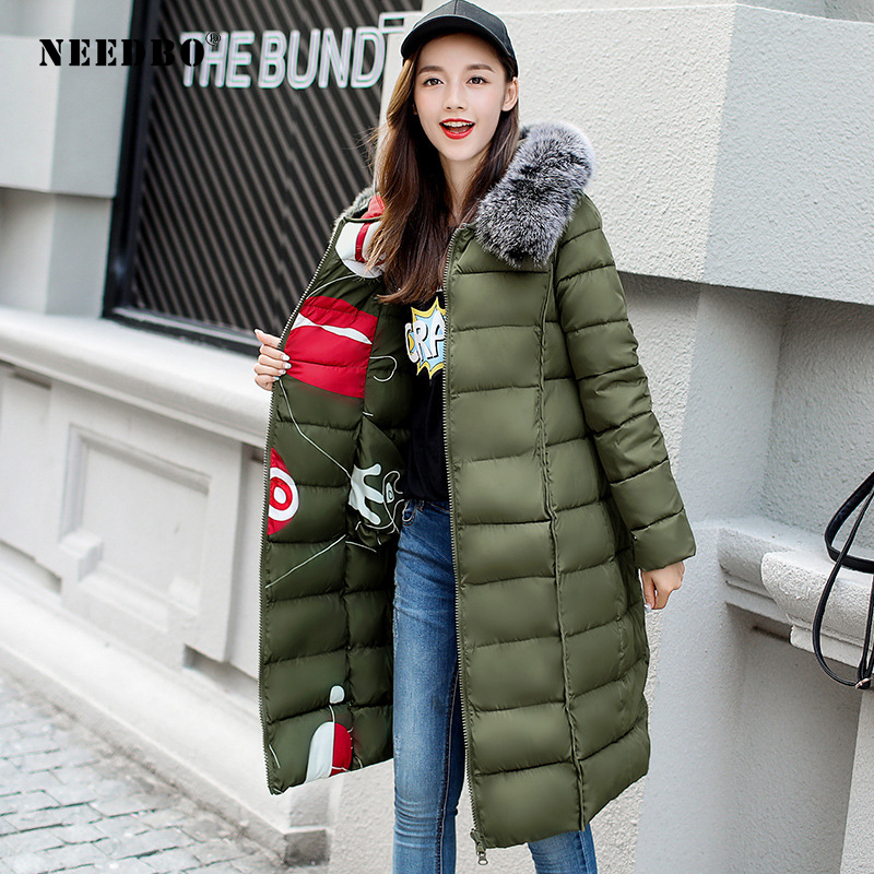 NEEDBO Reversible Jacket Woman Down Coat Women Long Down Jacket Women Winter With Hooded Down Coat Winter Oversize Doudoune Coat