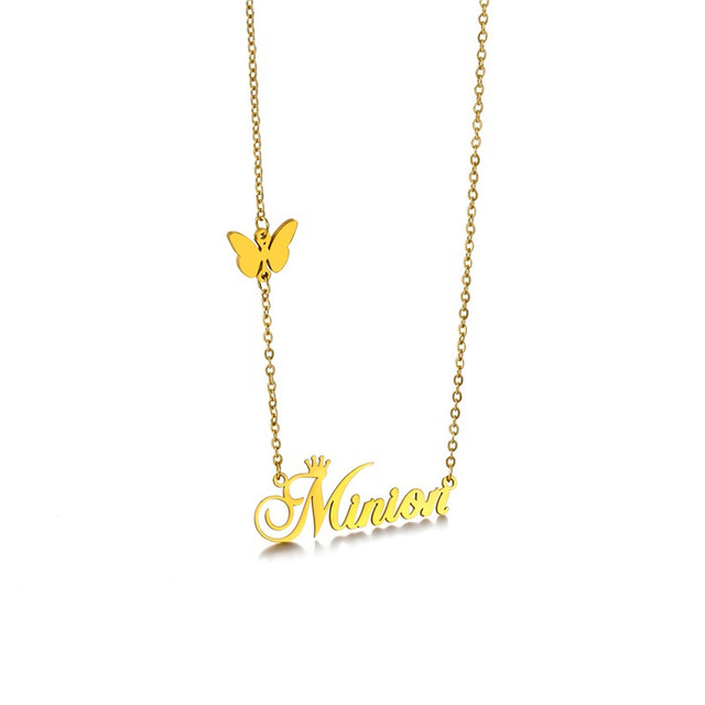 Personalized Customized Necklace Butterfly Pendant Stainless Steel Crown Chain Nameplate Necklaces Choker Jewelry for Women