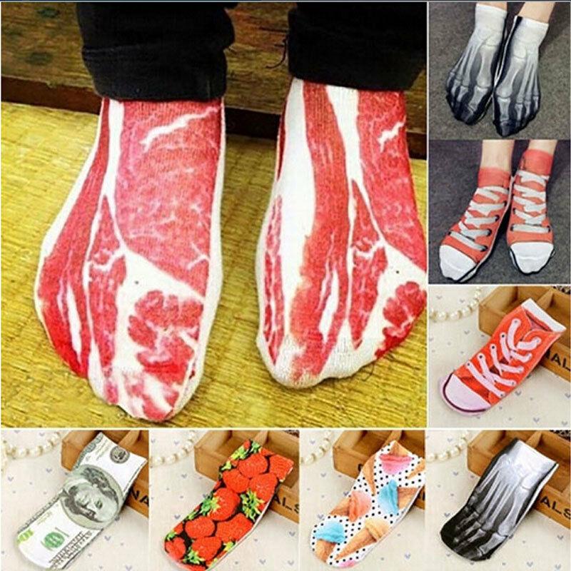 1 Pair Funny Novelty Pork 3D Socks Unisex Men Women Fashion Food Animals Printing Low Cut Casual Sock Art Ankle Socks Hot Sale