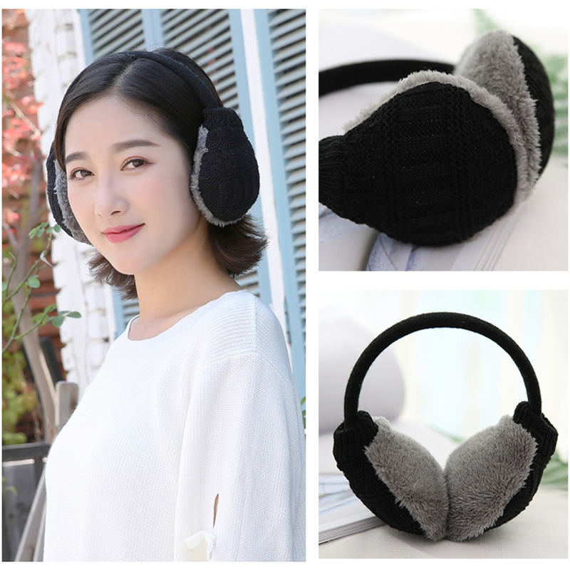 Warm Ear Cover Knitted Furry Earmuffs Removable Washable Ear Protectors Useful\\