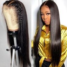28 30 дюймов бразильские прямые волосы 13x4 Синтетические волосы на кружеве парики из натуральных волос с Африканской структурой, предваритель...