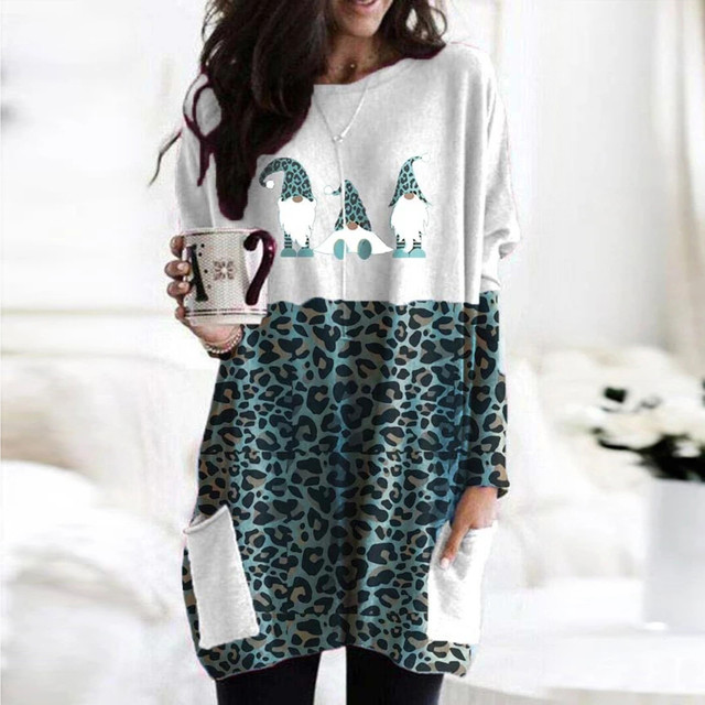 40# Plus Size Women Blouse Sexy Leopard Patchwork Loose Blouse Long Sleeve Christmas Printed O-neck Tops Tee Shirt Plus Size 2