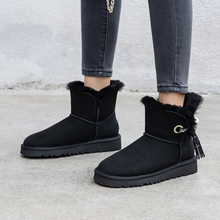 Plus Size 34-43 Luxury Genuine Sheepskin Leather Snow Boots Women Sheep Fur Winter Real Wool Calf Shoes