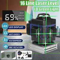 Лазерный уровень 16 линий 3D самонивелирующийся 360 горизонтальный и вертикальный крест зеленый лазерный луч