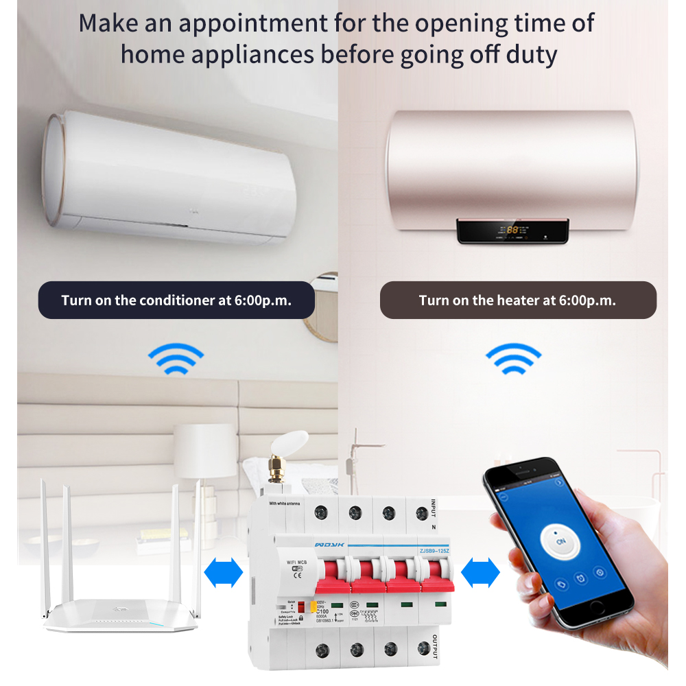 eWelink app 4P WiFi Smart Circuit Breaker overload short circuit protection with  Alexa google home for Smart Home 2