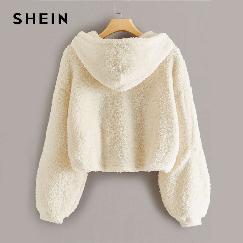 SHEIN Beige Button Front Drop Shoulder Teddy Hoodie Women Tops Winter Autumn Long Sleeve Solid Basic Casual Sweatshirts 2