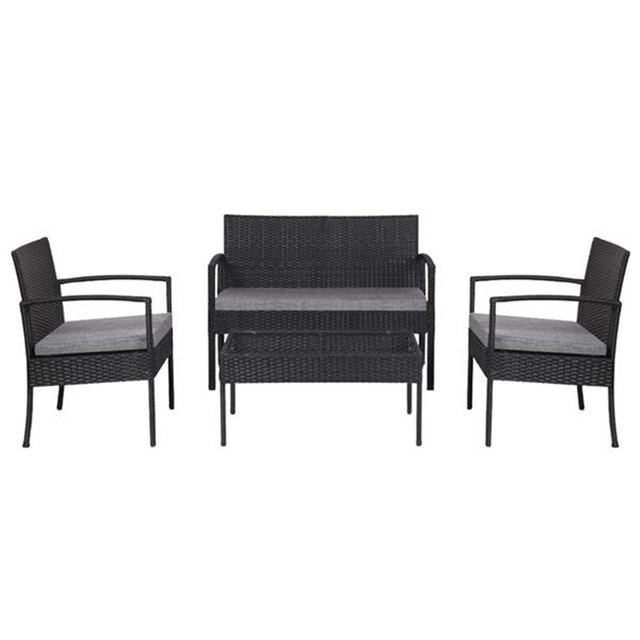 4 PCS Outdoor Patio Rattan Wicker Furniture Set 6