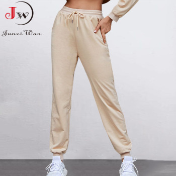 Women Casual Sport Pants Spring Autumn Solid Loose Lace-up Long Trousers Sweatpants Female Running Pantalones Mujer 1