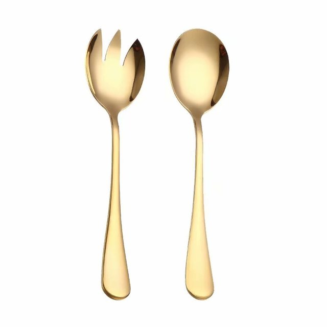 Set of stainless steel serving spoons