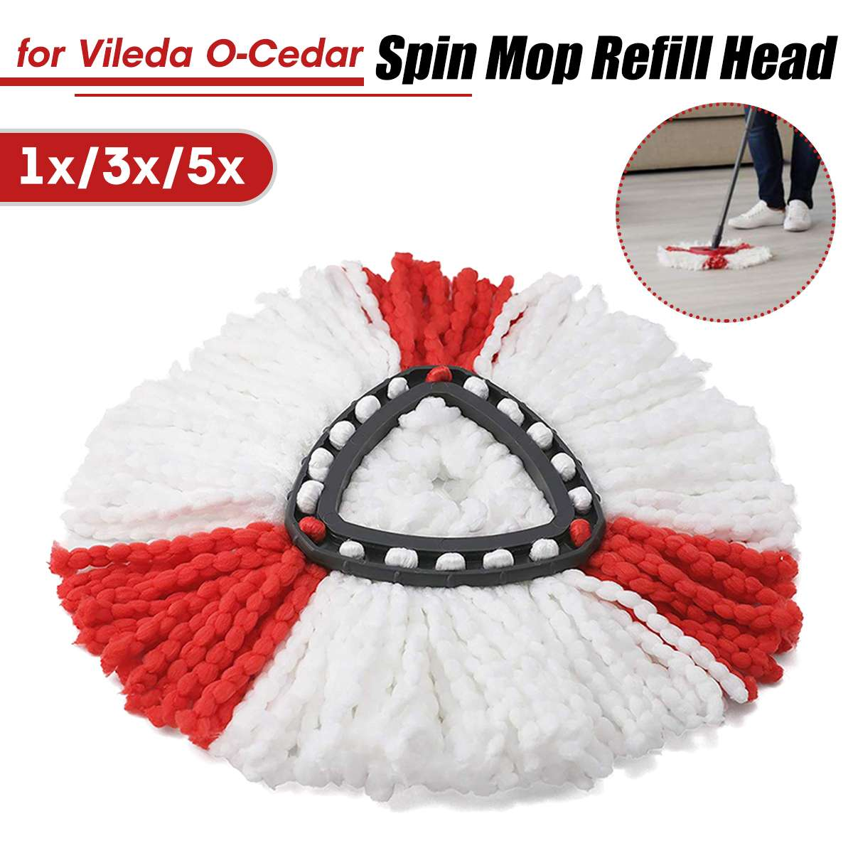 1/3/5pcs Microfibre Spin Mop Replacement Head for Vileda O-Cedar as Household Cleaning Tools 1