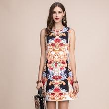 Baogarret Summer Fashion Runway Retro Mini Dress Womens Sleeveless Gorgeous Crystal Beading Vintage Printed Short