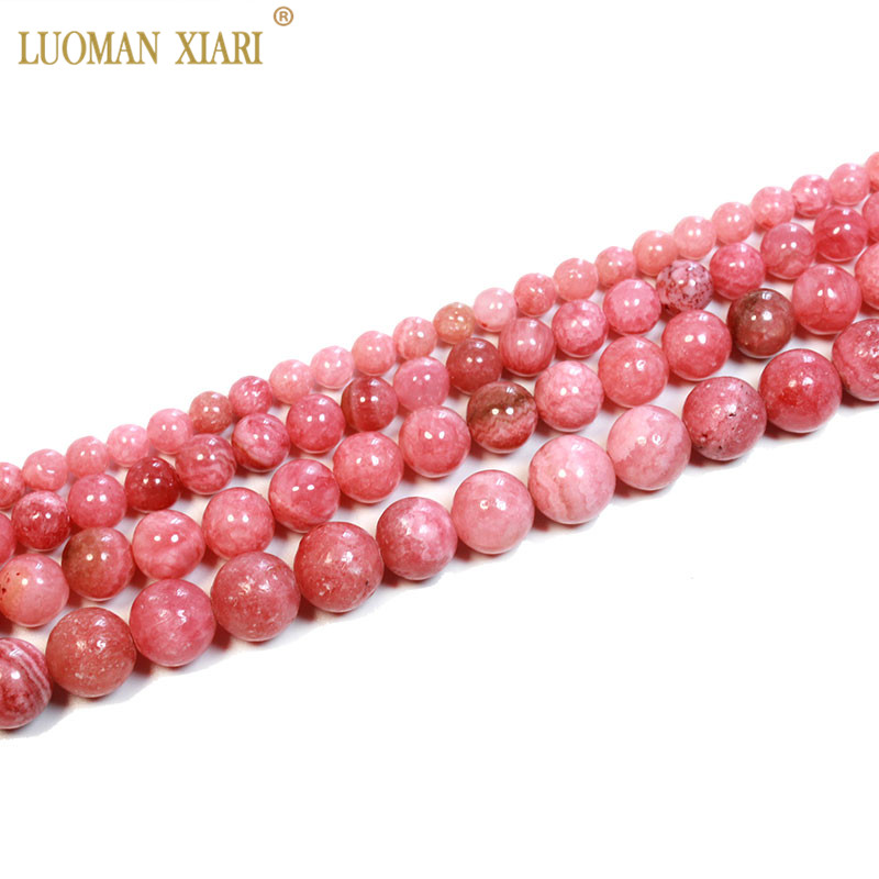 Fine Natural Argentina Rhodochrosite Red Round Stone Beads For Jewelry Making DIY Bracelet 4/6/8/10/12 Mm Strand 15''