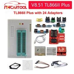 OBD2 Best V8.51 TL866II Plus Universal Minipro Programmer+24 Adapters+Test Clip TL866 PIC Bios High speed Programmer