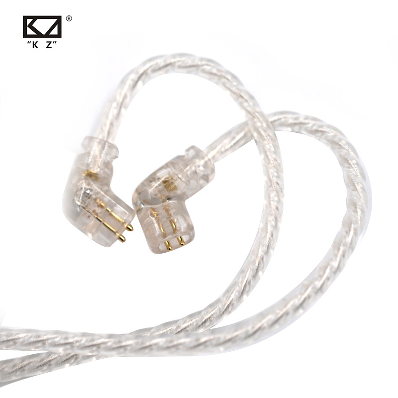 KZ ZSN Earphones Silvers Plated Upgrade <font><b>Cable</b></font> <font><b>2PIN</b></font> Gold-plated Pin <font><b>0.75mm</b></font> High Purity Oxygen Free Copper Earphones <font><b>Cable</b></font> ZSN pro image