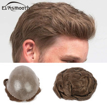 Men Toupee Hairpiece Replacement-System Blonde Remy-Hair Wig Unit Natural Silicon Pu