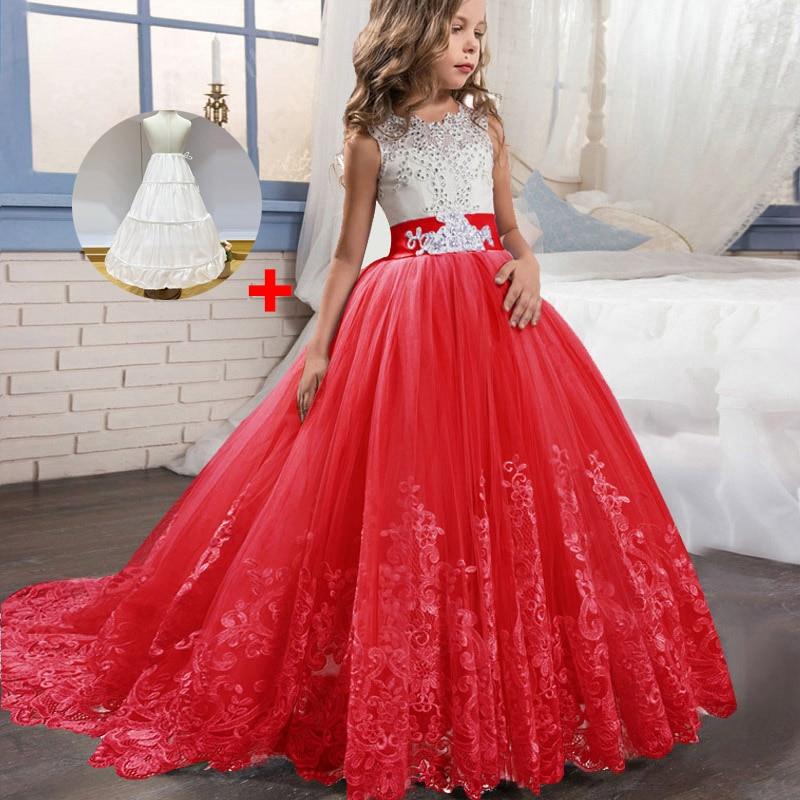 Кружевные платья для девочек с цветочным рисунком и длинным шлейфом; элегантные платья невесты; бальное платье; вечернее платье; платья для первого причастия; Vestido Comunion - Цвет: red