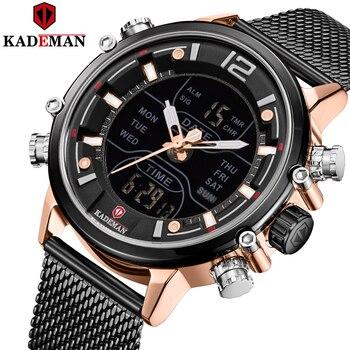Kademan lazer moda à prova dwaterproof água escuro relógio de pulso movimento quartzo design simples original clássico masculino relógios calendário k9071