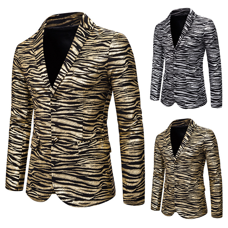 Europe And America MEN'S Suit Slim Fit Fashion Tiger Pattern Bronzing Printed Suit Formal Dress Costume Coat X130