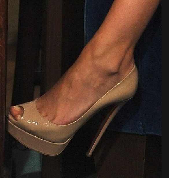 Nude Platform Peep Toe Heels