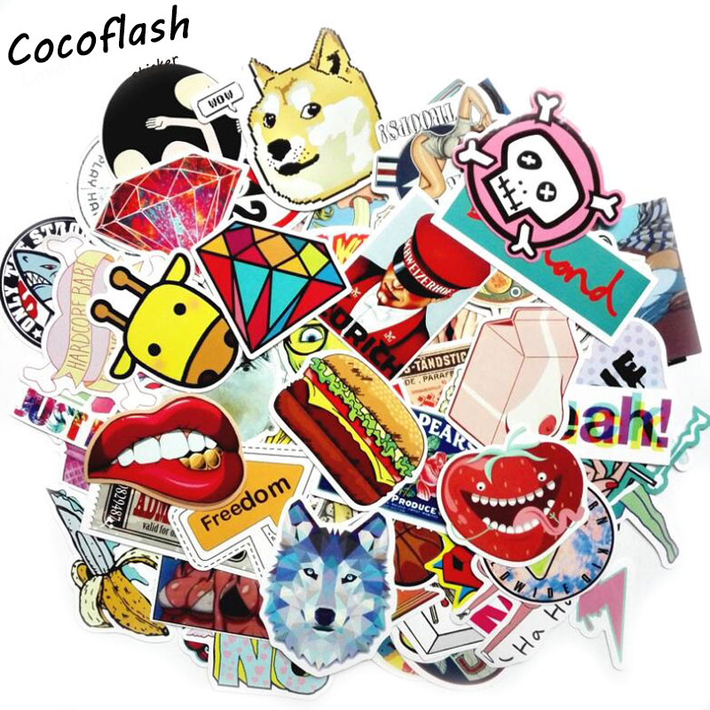 Hot Sale 200Pcs Mixed Cool Funny  Stickers For Luggage Laptop Car Styling Waterproof Cool Sticker Bike Trunk Guitar Decals