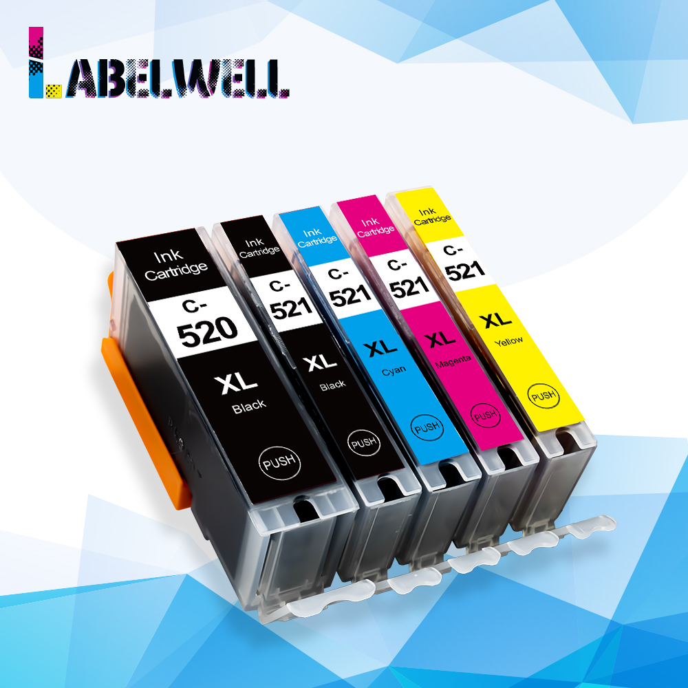 Labelwell Ink Cartridges PGI 520 CLI 521 Replace for <font><b>Canon</b></font> <font><b>PIXMA</b></font> <font><b>iP3600</b></font> 4600 4700 MP 540 550 560 620 630 640 MX860 Printer 520 image