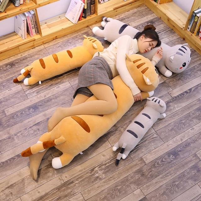 Cartoon Cat Pillow Stuffed Animal Dolls Soft Kids Toy Cat Sleep Long Plush Pillow Sofa Decorative Cushion Girl Gift Overwatch 1