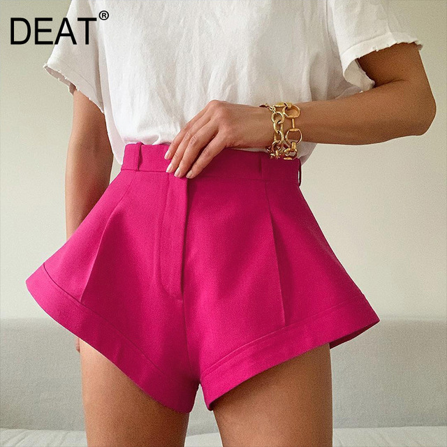 DEAT 2021 New Summer Fashion Casual Solid Loose Button Patchwork High Waist Wide Leg Shorts Women SD673 1
