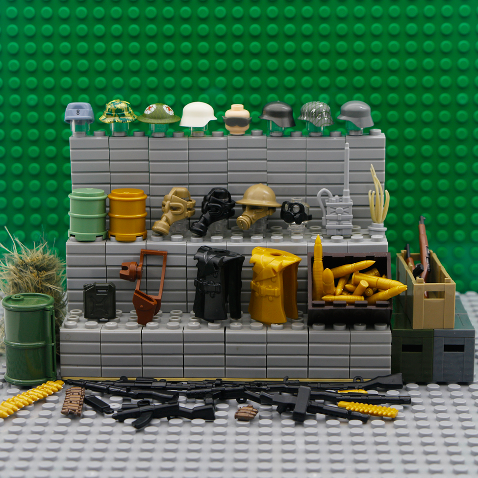 Building Blocks Legoings Military WW2 Weapon Accessories Army Cap Figures Gas Mask Soldier Helmet Gun Box City Police Bricks HOT