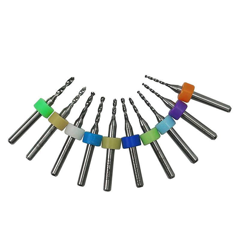 1 pièces PCB Kit de forage 3.175mm bord 0.1mm-2.0mm carbure de tungstène métal fraise CNC outils de gravure pour Circuit imprimé cire d'abeille