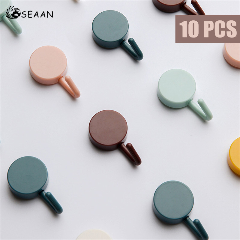 SEAAN 10pcs Solid Color Free Punching Door Without Trace Nail Small Hook Clothes Hook Mounted Wall Hook Wall Hooks Decorative