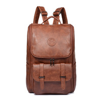 New 2019 High Quality Pu Leather Backpack Schoolbag Male Fashion Retro Casual Shoulder Bag Backpack Ladies Laptop Bag 2.5