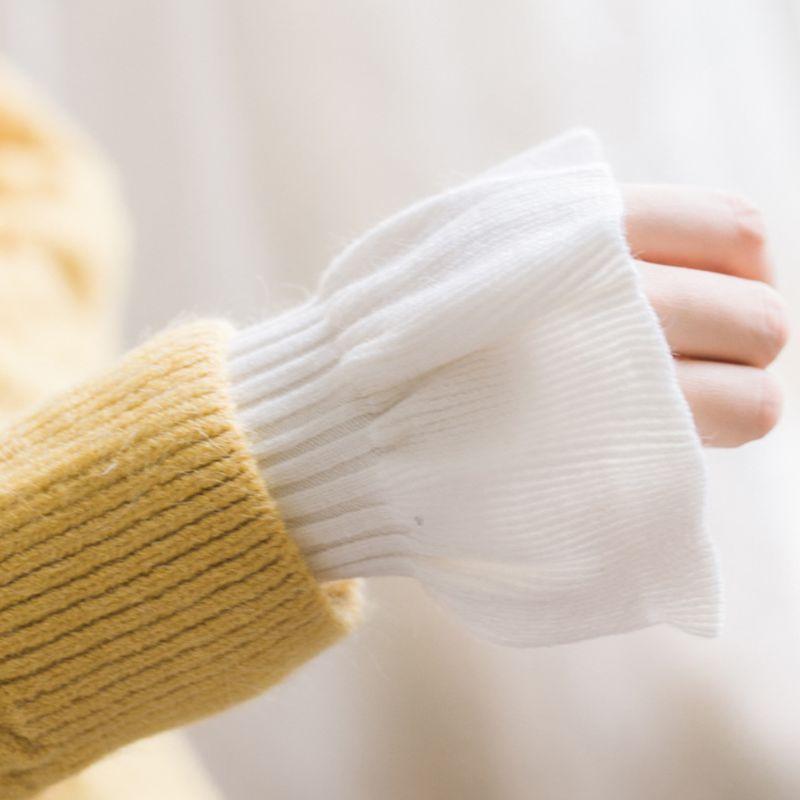 2pcs/pair Knitted Fake Cuff Gloves Women Girls Korean Style Big Wave Wrist Decor