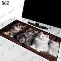 XGZ Nette Weiß Grau Katze Tier Große Größe Gaming Mouse Pad PC Computer Gamer Mauspad Schreibtisch Matte Locking Rand für CS GEHEN LOL Dota