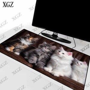 XGZ милый белый серый Кот животных большой размер игровой коврик для мыши ПК геймерский коврик для мыши Настольный коврик с закругленными кр...