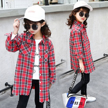 2019 Spring New Kids Girls Long Sleeve Cotton Plaid Shirts Tops Blouses Toddler Girls Clothes Blusas Costume 5 7 9 10 12 14 Year