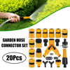 20Pcs Garden Hose Connector Kit 3/4������ 1/2��� Male Female Hose Adapter Y Hose Splitters Nozzles Quick Connector Garden Accessories