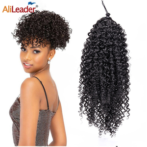 Alileader Kinky Curly Ponytail Curly Drawstring Ponytail Synthetic Clip In Hair Extension Afro Kinky Curly Pony Tail Extension